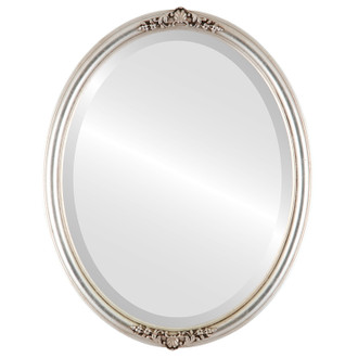 Contessa Beveled Oval Mirror Frame in Silver Leaf with Brown Antique