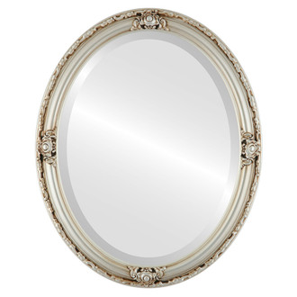 Jefferson Beveled Oval Mirror Frame in Silver