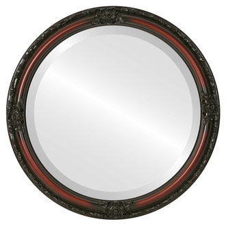 Jefferson Beveled Round Mirror Frame in Rosewood