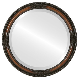 Jefferson Beveled Round Mirror Frame in Walnut
