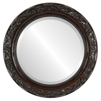 Rome Beveled Round Mirror Frame in Walnut