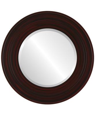 Palomar Beveled Round Mirror Frame in Black Cherry