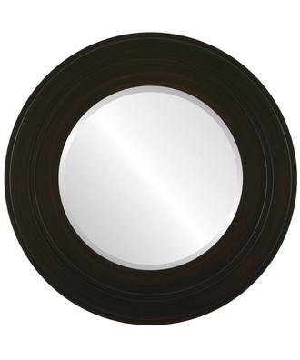 Palomar Beveled Round Mirror Frame in Black Walnut