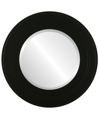 Palomar Beveled Round Mirror Frame in Matte Black