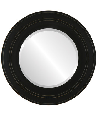Palomar Beveled Round Mirror Frame in Rubbed Black