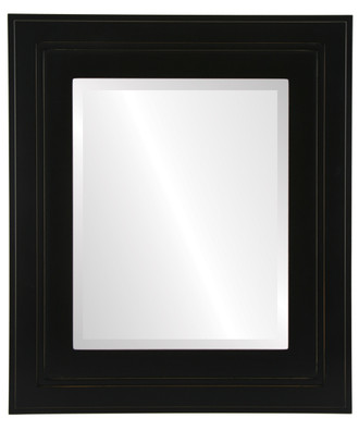 Palomar Beveled Rectangle Mirror Frame in Rubbed Black