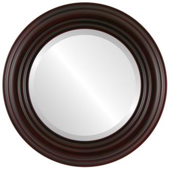 Regalia Beveled Round Mirror Frame in Black Cherry