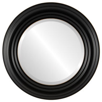 Regalia Beveled Round Mirror Frame in Rubbed Black