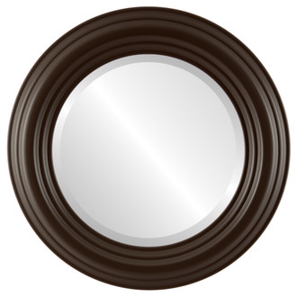 Regalia Beveled Round Mirror Frame in Stone Brown