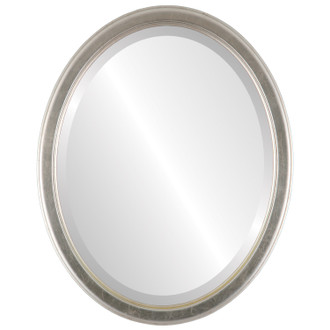 Toronto Beveled Oval Mirror Frame in Silver Leaf with Brown Antique