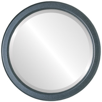 Toronto Beveled Round Mirror Frame in Black Silver