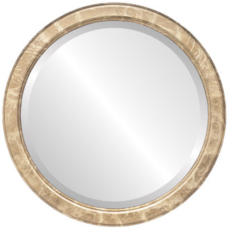 Toronto Beveled Round Mirror Frame in Champagne Gold
