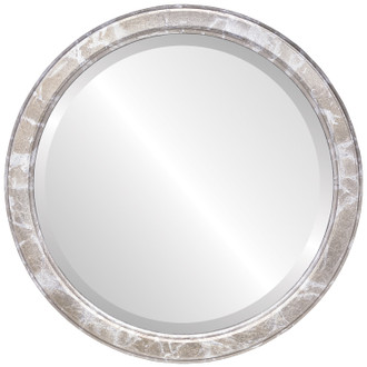 Toronto Beveled Round Mirror Frame in Champagne Silver