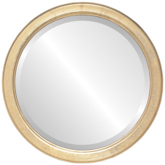 Toronto Beveled Round Mirror Frame in Gold Leaf