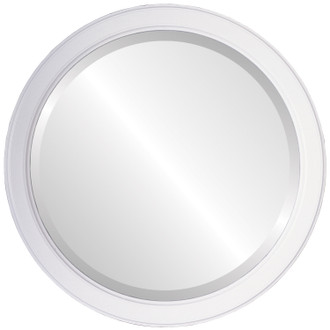 Toronto Beveled Round Mirror Frame in Linen White