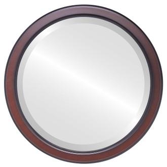 Toronto Beveled Round Mirror Frame in Rosewood