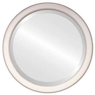Toronto Beveled Round Mirror Frame in Taupe