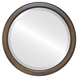 Toronto Beveled Round Mirror Frame in Walnut