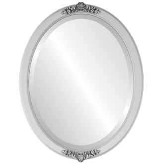 Athena Beveled Oval Mirror Frame in Linen White
