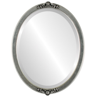 Athena Beveled Oval Mirror Frame in Silver Leaf with Black Antique