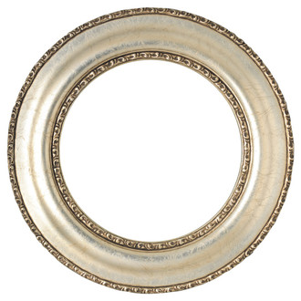 Somerset Round Frame # 452 - Silver Leaf with Brown Antique