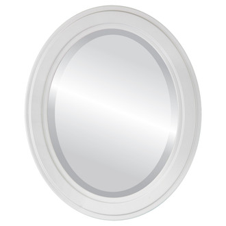 Wright Beveled Oval Mirror Frame in Linen White