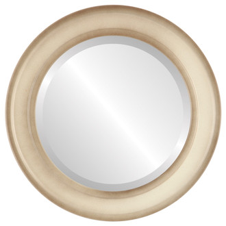 Wright Beveled Round Mirror Frame in Taupe