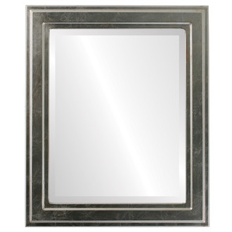 Wright Beveled Rectangle Mirror Frame in Silver Leaf with Brown Antique