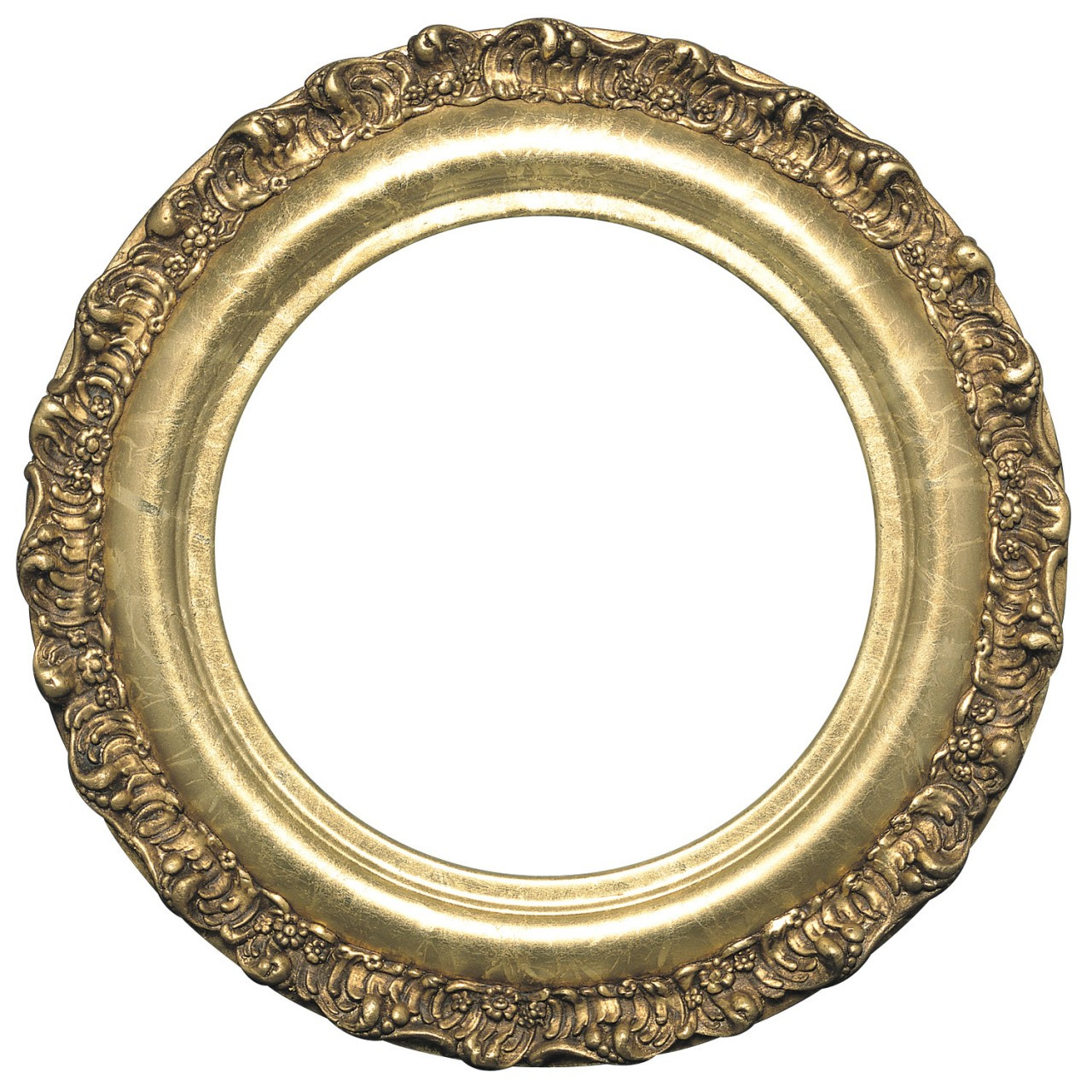 Round Frame In Champagne Gold Finish Gold Leaf Picture