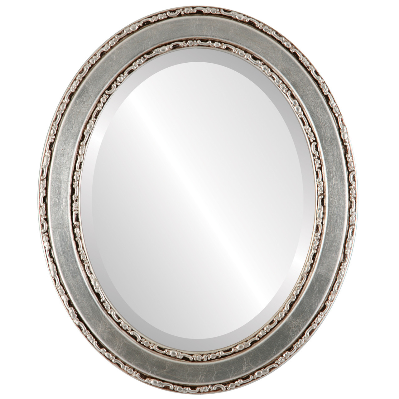 Silver Oval Mirrors From 153 Monticello Silver Leaf With Brown