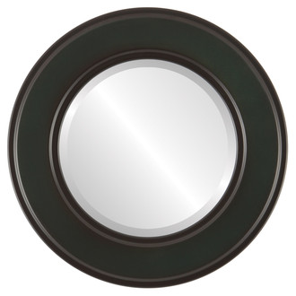 Montreal Beveled Round Mirror Frame in Hunter Green