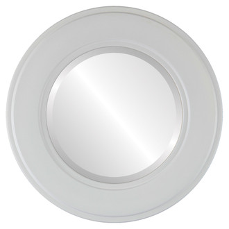 Montreal Beveled Round Mirror Frame in Linen White