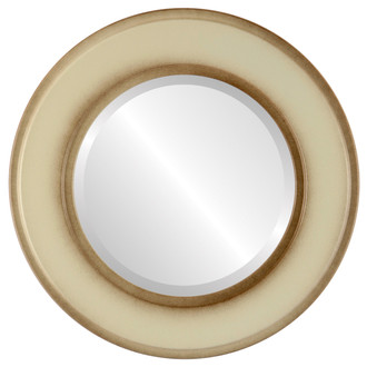 Montreal Beveled Round Mirror Frame in Taupe