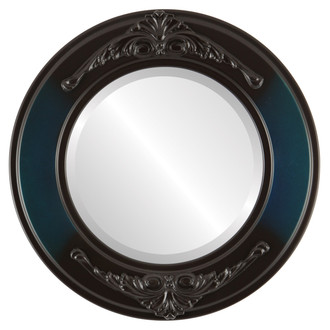 Ramino Beveled Round Mirror Frame in Royal Blue