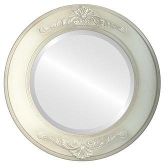 Ramino Beveled Round Mirror Frame in Taupe