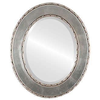 Paris Beveled Oval Mirror Frame in Silver Leaf with Brown Antique