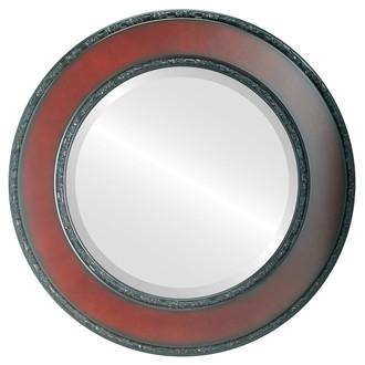 Paris Beveled Round Mirror Frame in Rosewood