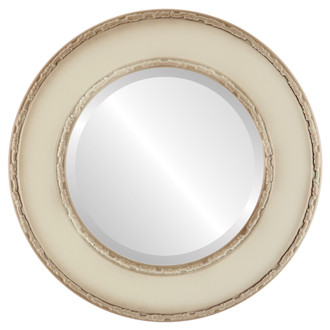 Paris Beveled Round Mirror Frame in Taupe