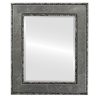 Paris Beveled Rectangle Mirror Frame in Silver Leaf with Black Antique