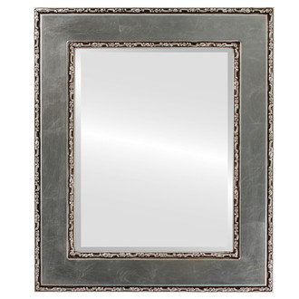 Paris Beveled Rectangle Mirror Frame in Silver Leaf with Brown Antique