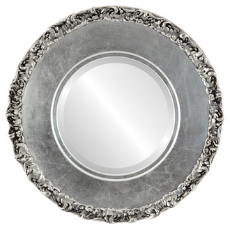 Williamsburg Beveled Round Mirror Frame in Silver Leaf with Black Antique
