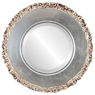 Williamsburg Beveled Round Mirror Frame in Silver Leaf with Brown Antique