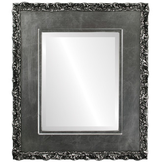 Williamsburg Beveled Rectangle Mirror Frame in Silver Leaf with Black Antique
