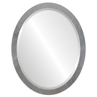 Manhattan Beveled Oval Mirror Frame in Silver Leaf with Brown Antique
