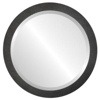 Manhattan Beveled Round Mirror Frame in Black Silver