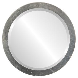 Manhattan Beveled Round Mirror Frame in Silver Leaf with Brown Antique