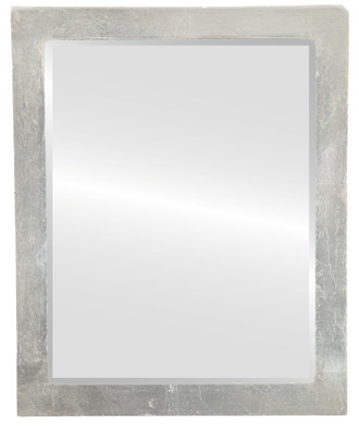 Manhattan Beveled Rectangle Mirror Frame in Silver Leaf with Brown Antique