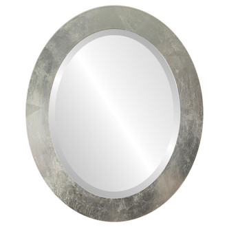 Soho Beveled Oval Mirror Frame in Silver Leaf with Brown Antique