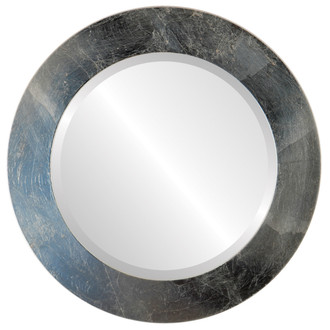 Soho Beveled Round Mirror Frame in Silver Leaf with Brown Antique