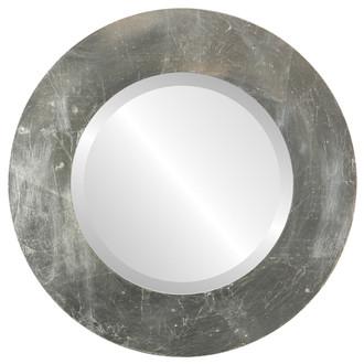 Ashland Beveled Round Mirror Frame in Silver Leaf with Brown Antique